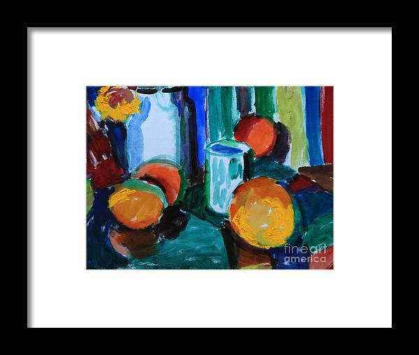 Still Life Framed Print featuring the painting Still Life With Orange by Andrey Semionov