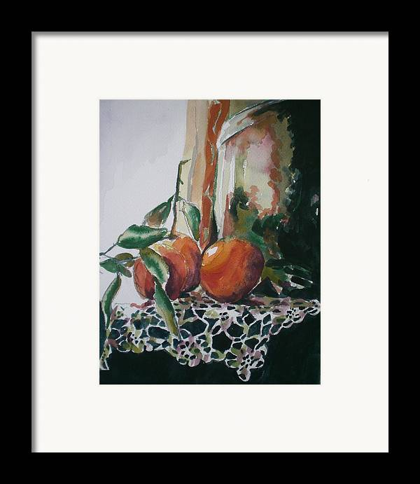 Oranges Framed Print featuring the painting Still Life With Oranges by Aleksandra Buha