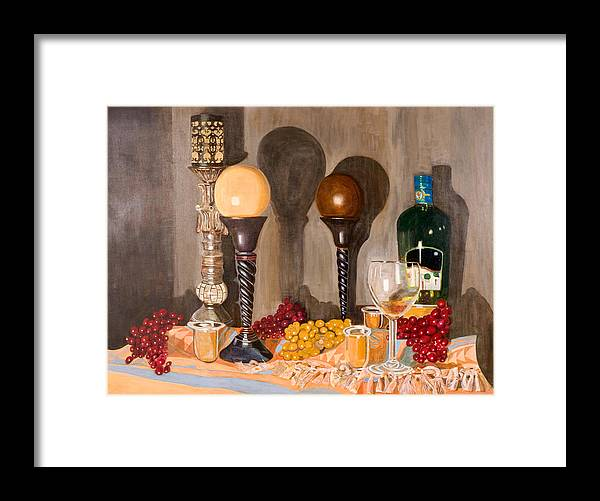Still Life Framed Print featuring the painting Still Life With Orbs by Arvin Nealy