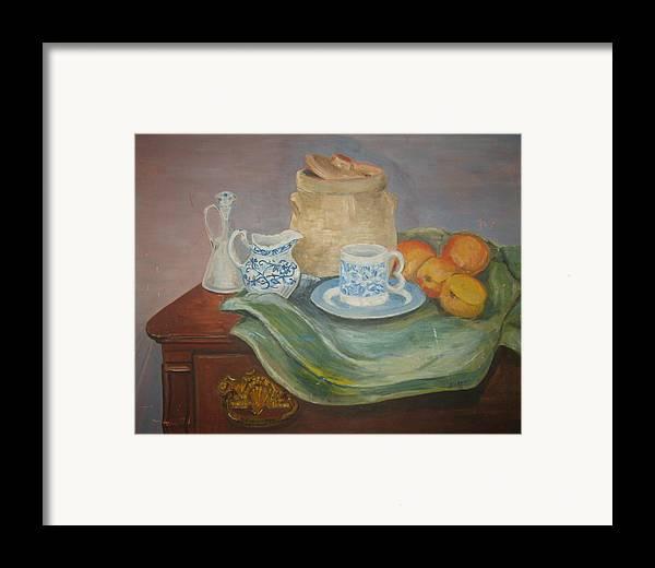 Still Life Peaches Cookie Jar Bureau Framed Print featuring the painting Still Life With Peaches by Joseph Sandora Jr