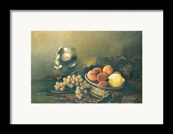 Armenian Framed Print featuring the painting Still-life With Peaches by Tigran Ghulyan