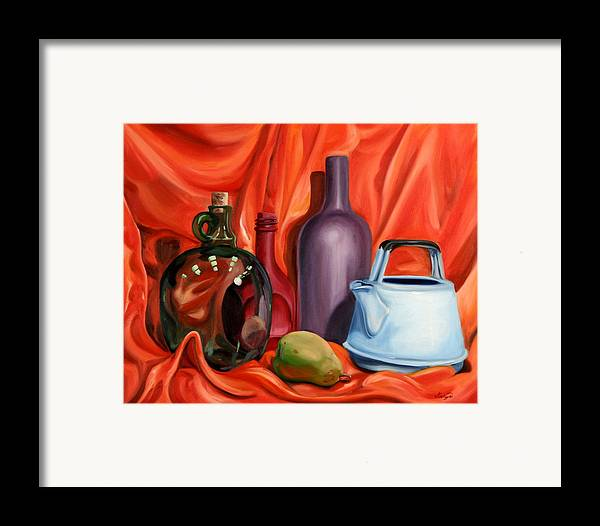 Still Life Framed Print featuring the painting Still Life With Pear by Maryn Crawford