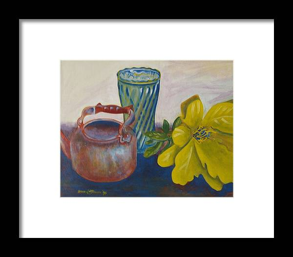 Still Life Arrangement Sold Framed Print featuring the painting Still Life With Plastic Flower by Howard Stroman