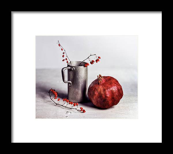 Still Life Framed Print featuring the photograph Still Life With Pomegranate by Nailia Schwarz