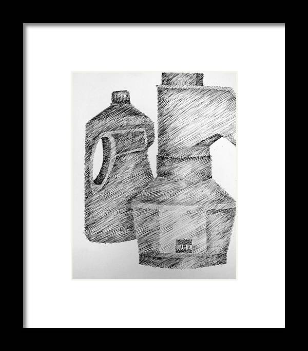Still Life Framed Print featuring the drawing Still Life With Popcorn Maker And Laundry Soap Bottle by Michelle Calkins