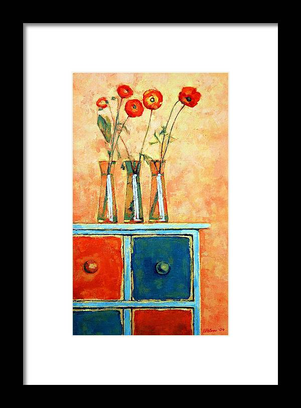 Poppies Framed Print featuring the painting Still Life With Poppies by Iliyan Bozhanov