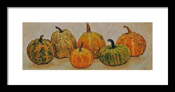 Still Life Framed Print featuring the painting Still Life With Pumpkins by Iliyan Bozhanov