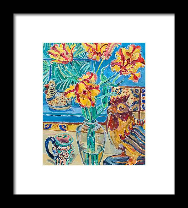 Still-life Framed Print featuring the painting Still Life With Rooster And Tulips by Vitali Komarov