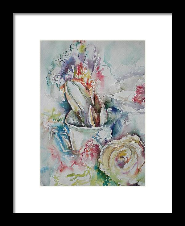 Still Life Framed Print featuring the painting Still Life With Rose by Aleksandra Buha