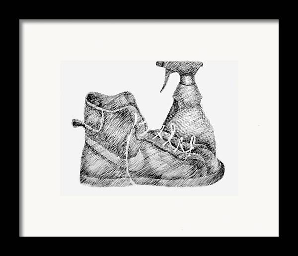 Pen Framed Print featuring the drawing Still Life With Shoe And Spray Bottle by Michelle Calkins