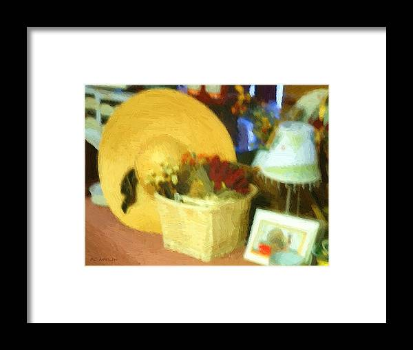 Basket Framed Print featuring the digital art Still Life With Straw Hat by RC DeWinter
