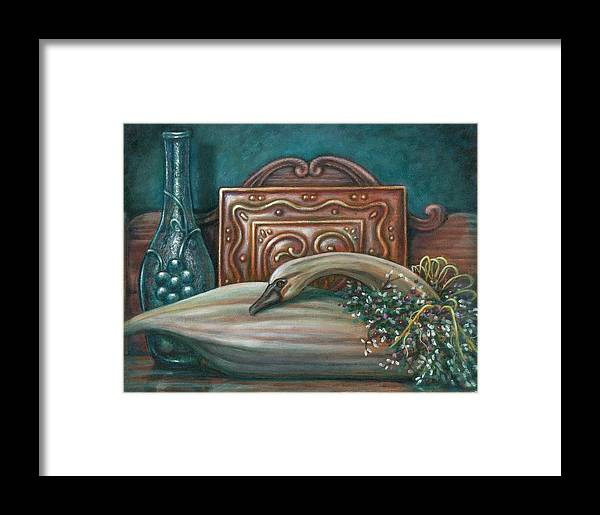 Swan Framed Print featuring the painting Still Life With Swan by Colleen Maas-Pastore
