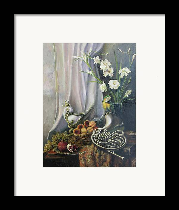 Armenian Framed Print featuring the painting Still-life With The French Horn by Tigran Ghulyan