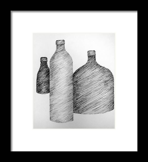 Still Life Framed Print featuring the drawing Still Life With Three Bottles by Michelle Calkins
