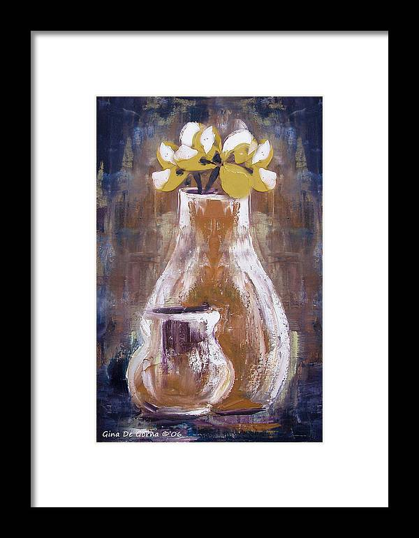 Still Life Framed Print featuring the painting Still Life With Yellow Flowers by Gina De Gorna