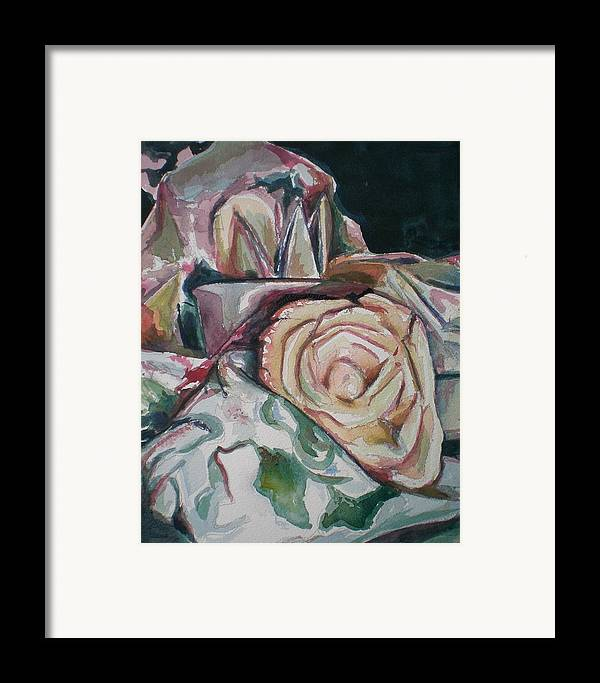 Still Life Framed Print featuring the painting Still Life With Yellow Rose by Aleksandra Buha