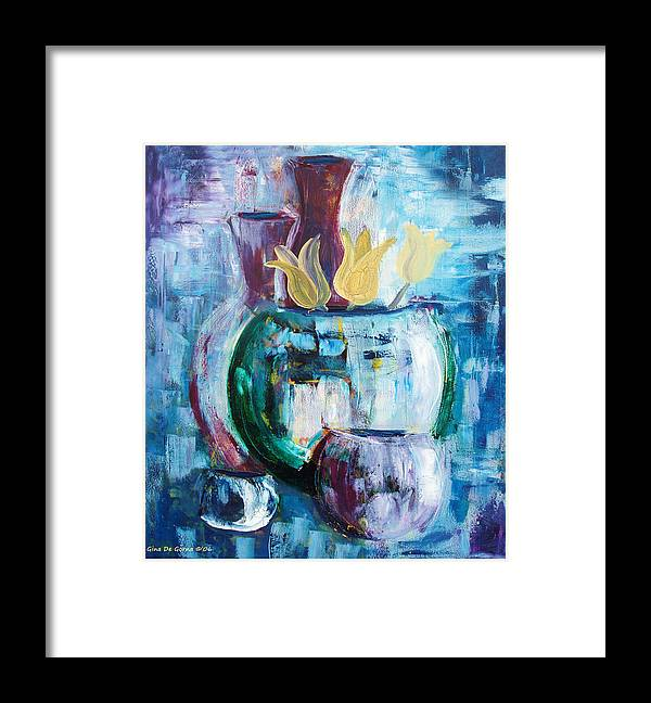 Still Framed Print featuring the painting Still Life With Yellow Tulips by Gina De Gorna