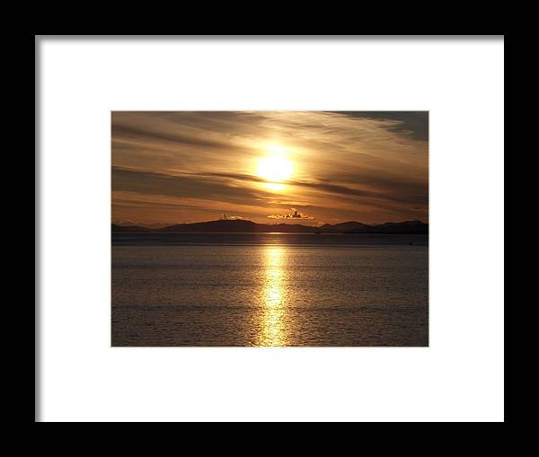 Seascape Framed Print featuring the photograph Still Night In Alaska by Janet Hall