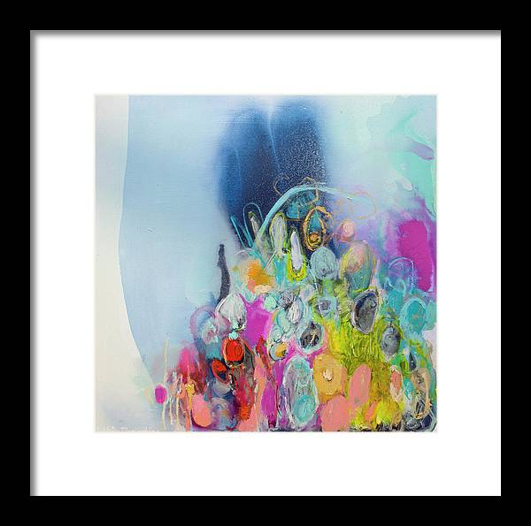 Abstract Framed Print featuring the painting Still Playing by Claire Desjardins