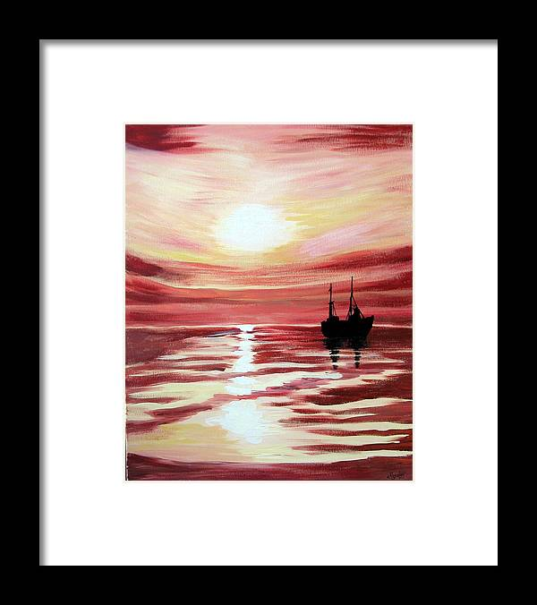 Seascape Framed Print featuring the painting Still Waters Run Deep by Marco Morales