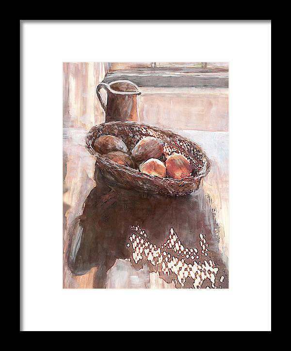 Stillife Framed Print featuring the painting Stillife With Onions by Linda Crockett