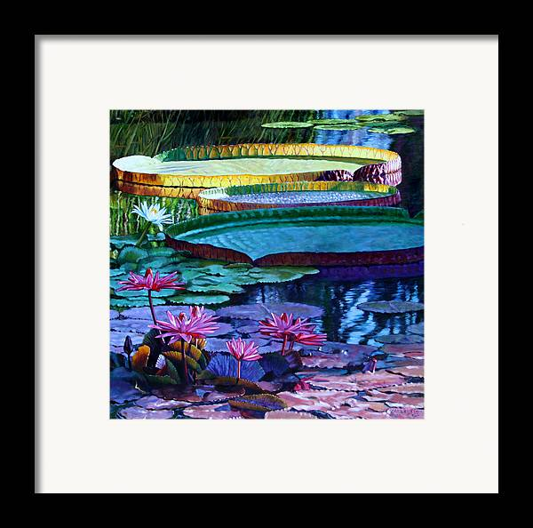 Garden Pond Framed Print featuring the painting Stillness Of Color And Light by John Lautermilch