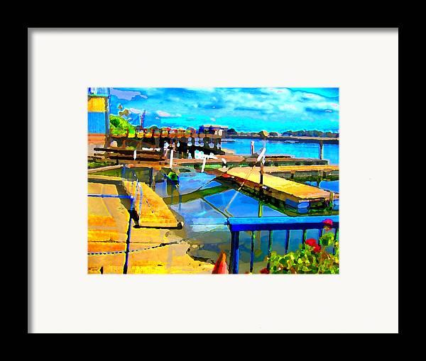 Framed Print featuring the digital art Stockton Harbor by Danielle Stephenson