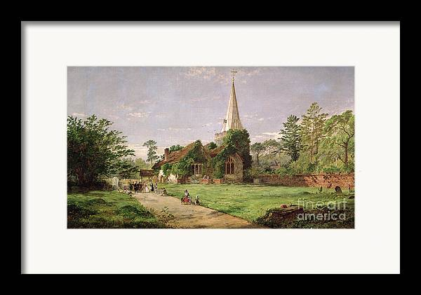 Stoke Framed Print featuring the painting Stoke Poges Church by Jasper Francis Cropsey