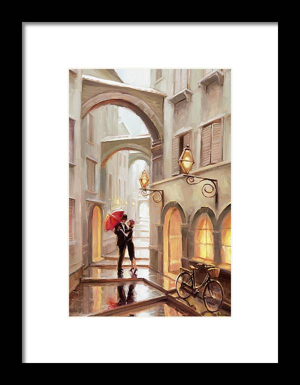 Love Framed Print featuring the painting Stolen Kiss by Steve Henderson