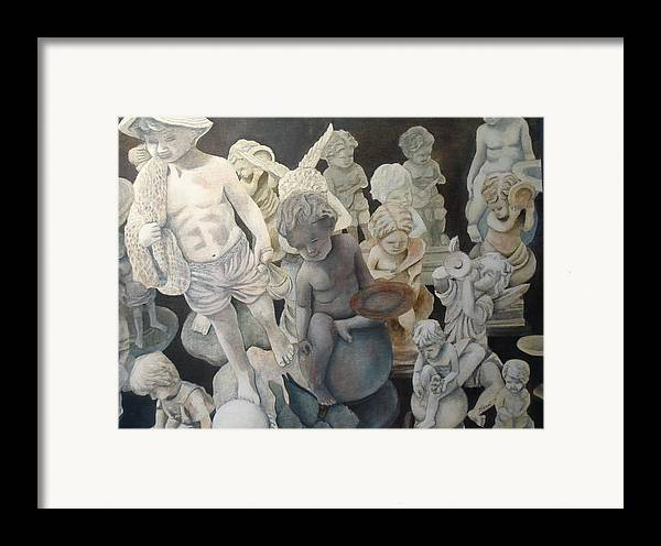Stone Framed Print featuring the painting Stone Angels by Victoria Heryet