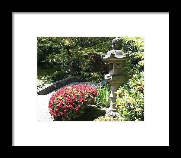 Asian Framed Print featuring the photograph Stone Bridge With Asian Lantern by Sonja Anderson