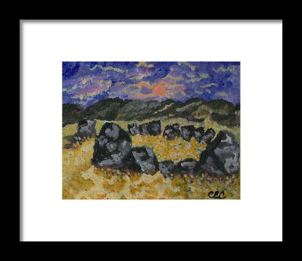 Spiritual Framed Print featuring the painting Stone Circle by Carolyn Cable