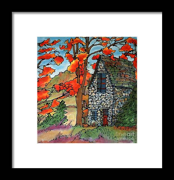 Fall Framed Print featuring the painting Stone Cottage Silk Painting by Linda Marcille