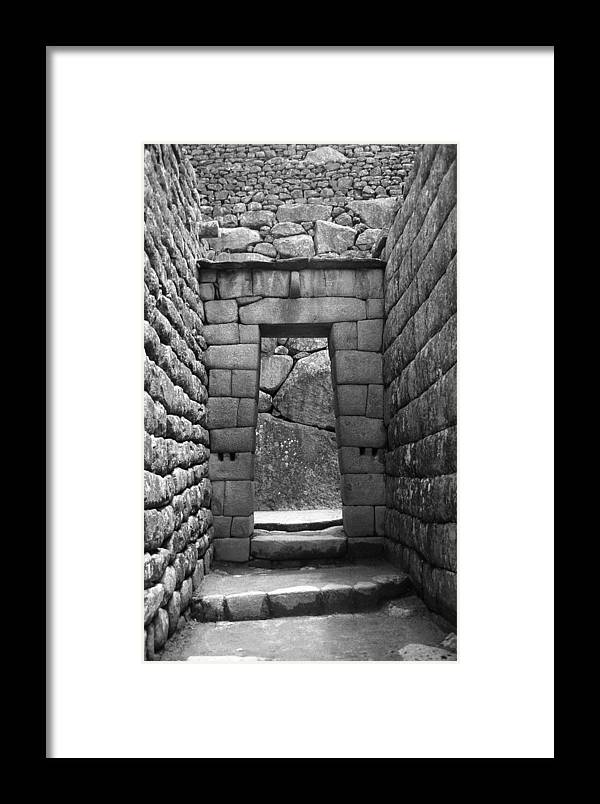 Machu Picchu Framed Print featuring the photograph Stone Door by Marcus Best