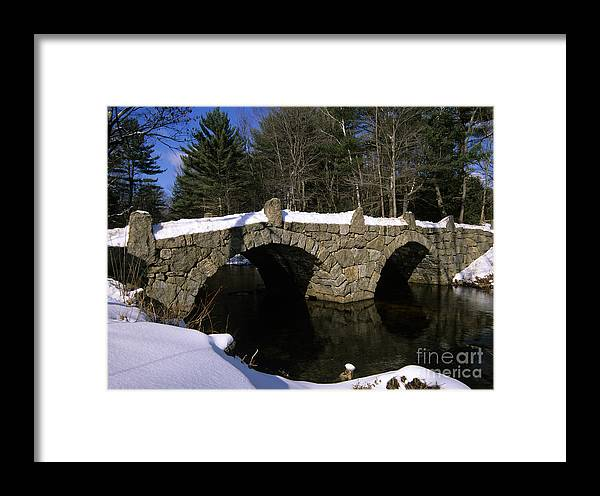 Bridge Framed Print featuring the photograph Stone Double Arched Bridge - Hillsborough New Hampshire Usa by Erin Paul Donovan