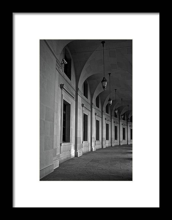 Black Framed Print featuring the photograph Stone Hallway by Michele Stoehr