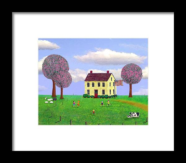 Folk Framed Print featuring the painting Stone House In Spring by Paul Little