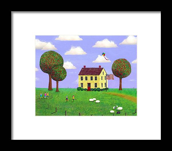 Folk Art Framed Print featuring the painting Stone House In Summer by Paul Little
