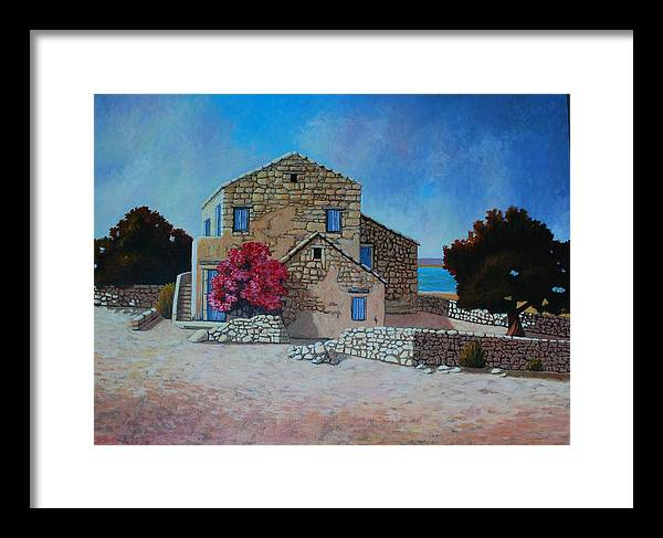 Impressionism Landscape Framed Print featuring the painting Stone House On The Beach by Santo De Vita