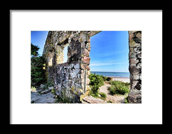 Stone House Framed Print featuring the photograph Stone House Sea Side by Melissa Hicks