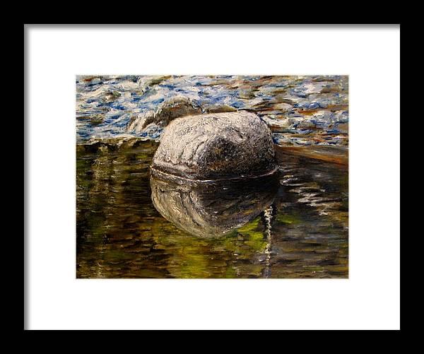 Original Painting Framed Print featuring the painting Stone landscape original oil painting by Natalja Picugina