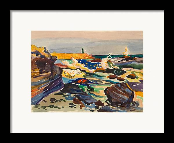 Lighthouse Framed Print featuring the painting Stone Sea Cost With Lighthouse by Vitali Komarov
