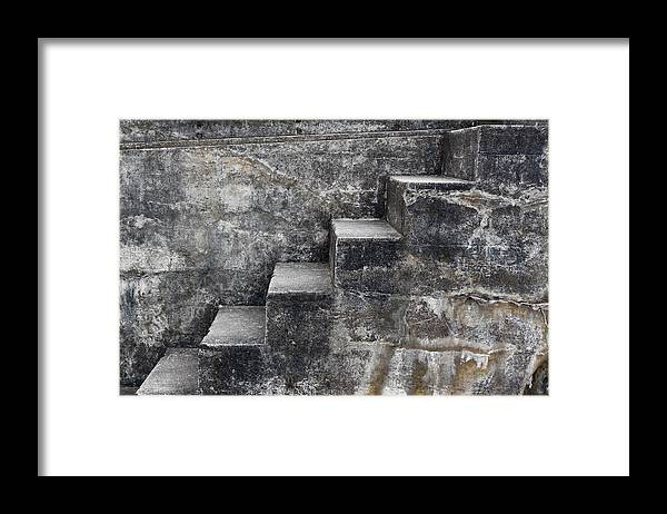 Coastal Fortifications Framed Print featuring the mixed media Stone Steps by Carol Leigh