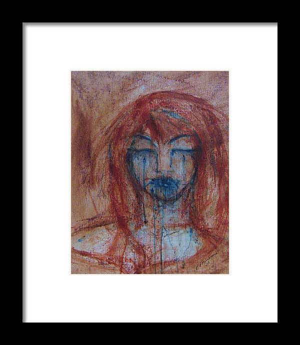Face Framed Print featuring the painting Stone Tears by Cathy Minerva
