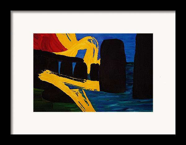 Stonehenge Framed Print featuring the painting Stonehenge Abstract Evolution1 by Gregory Allen Page