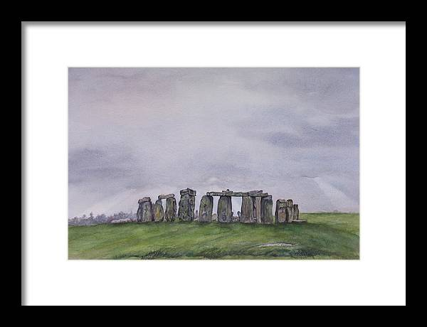Stonehenge Framed Print featuring the painting Stonehenge by Debbie Homewood