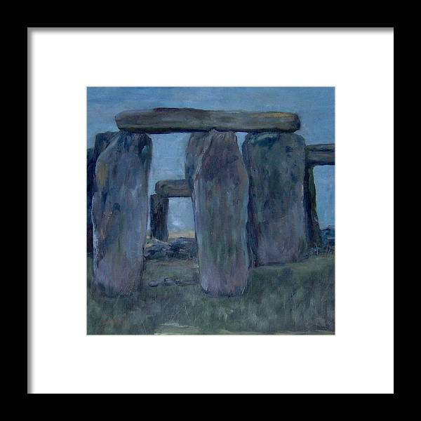 Historical Framed Print featuring the painting Stonehenge by Lorna Skeie
