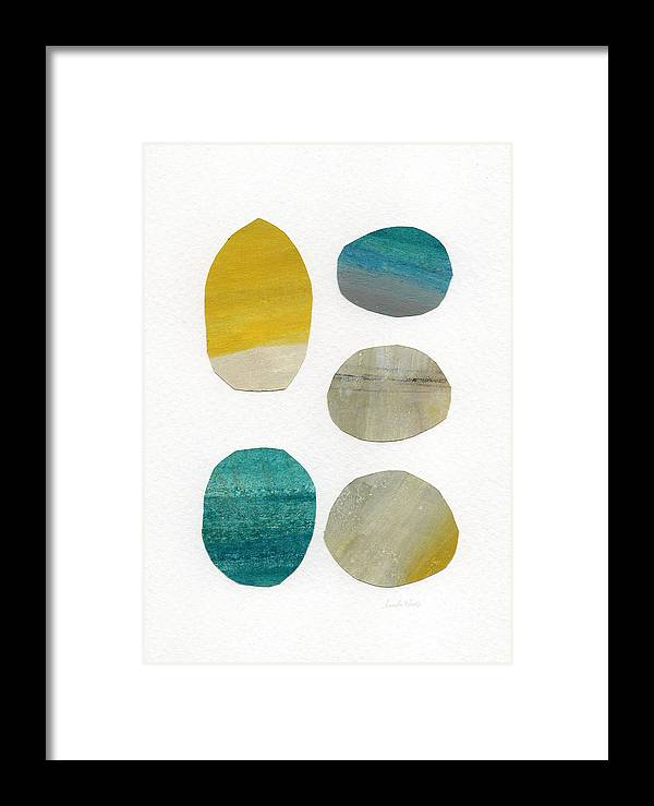 Abstract Art Framed Print featuring the mixed media Stones- Abstract Art by Linda Woods