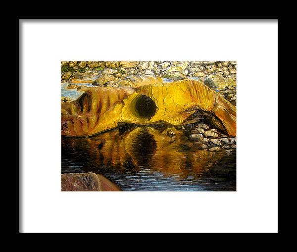 Landscape Framed Print featuring the painting Stones Ocoee river in Tennessee landscape original oil paintings by Natalja Picugina