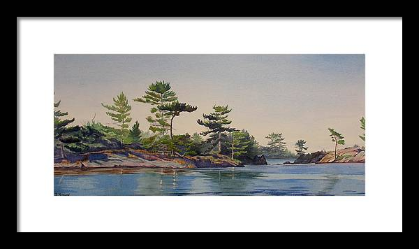 Rocks Framed Print featuring the painting Stoney Lake Morning by Debbie Homewood
